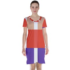 Compound Grid Short Sleeve Nightdress