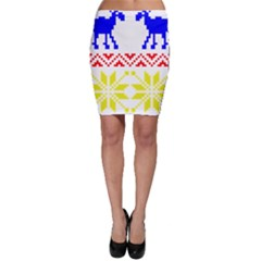Jacquard With Elks Bodycon Skirt