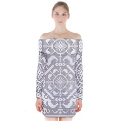 Mosaic Pattern Cyberscooty Museum Pattern Long Sleeve Off Shoulder Dress