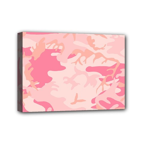 Pink Camo Print Mini Canvas 7  X 5