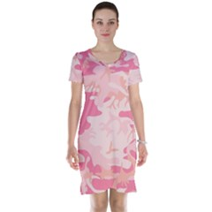 Pink Camo Print Short Sleeve Nightdress by Nexatart