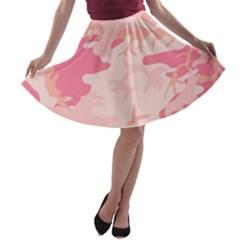 Pink Camo Print A Line Skater Skirt