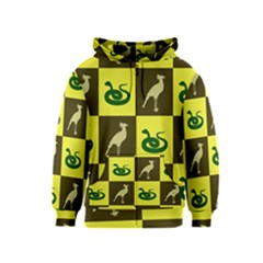 Bird And Snake Pattern Kids  Zipper Hoodie