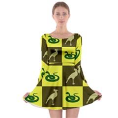 Bird And Snake Pattern Long Sleeve Skater Dress
