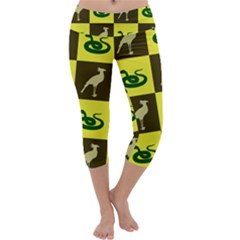 Bird And Snake Pattern Capri Yoga Leggings
