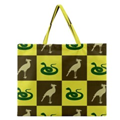 Bird And Snake Pattern Zipper Large Tote Bag by Nexatart