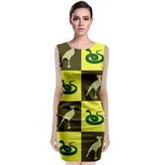 Bird And Snake Pattern Classic Sleeveless Midi Dress