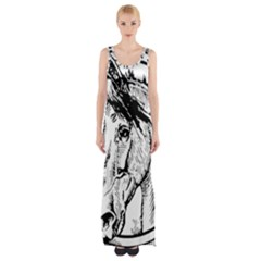 Framed Horse Maxi Thigh Split Dress