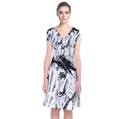 Framed Horse Short Sleeve Front Wrap Dress