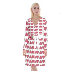 Watermelon Pattern Long Sleeve Velvet Front Wrap Dress