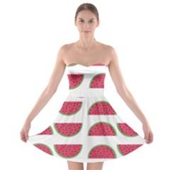 Watermelon Pattern Strapless Bra Top Dress