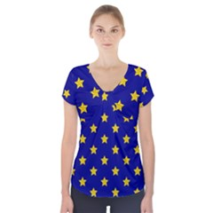 Star Pattern Short Sleeve Front Detail Top