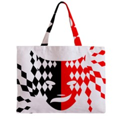 Face Mask Red Black Plaid Triangle Wave Chevron Zipper Mini Tote Bag by Mariart