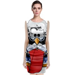 Grandma Penguin Sleeveless Velvet Midi Dress