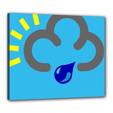 Light Rain Shower Cloud Sun Yellow Blue Sky Canvas 24  X 20  by Mariart