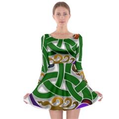 Celtic Ornament Long Sleeve Skater Dress