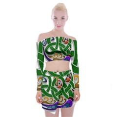 Celtic Ornament Off Shoulder Top With Skirt Set
