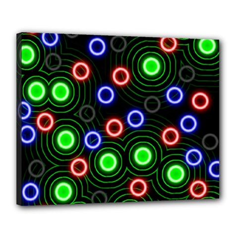 Neons Couleurs Circle Light Green Red Line Canvas 20  X 16  by Mariart