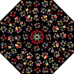 Colorful Paw Prints Pattern Background Reinvigorated Folding Umbrellas