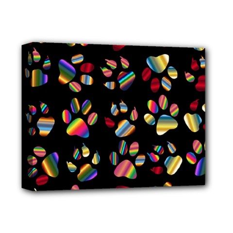 Colorful Paw Prints Pattern Background Reinvigorated Deluxe Canvas 14  X 11  by Nexatart