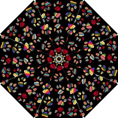 Colorful Paw Prints Pattern Background Reinvigorated Hook Handle Umbrellas (small)