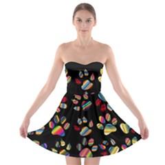 Colorful Paw Prints Pattern Background Reinvigorated Strapless Bra Top Dress