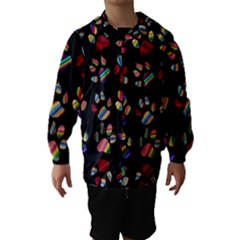 Colorful Paw Prints Pattern Background Reinvigorated Hooded Wind Breaker (kids)