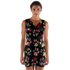 Colorful Paw Prints Pattern Background Reinvigorated Wrap Front Bodycon Dress