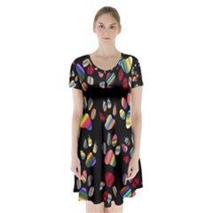Colorful Paw Prints Pattern Background Reinvigorated Short Sleeve V Neck Flare Dress