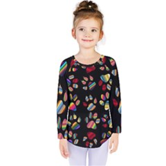 Colorful Paw Prints Pattern Background Reinvigorated Kids  Long Sleeve Tee