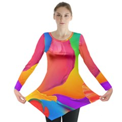 Paint Rainbow Color Blue Red Green Blue Purple Long Sleeve Tunic  by Mariart