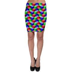Seamless Rgb Isometric Cubes Pattern Bodycon Skirt