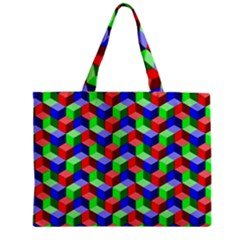 Seamless Rgb Isometric Cubes Pattern Zipper Mini Tote Bag