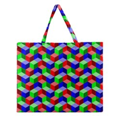 Seamless Rgb Isometric Cubes Pattern Zipper Large Tote Bag