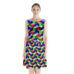 Seamless Rgb Isometric Cubes Pattern Sleeveless Waist Tie Chiffon Dress