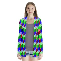 Seamless Rgb Isometric Cubes Pattern Cardigans