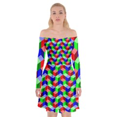 Seamless Rgb Isometric Cubes Pattern Off Shoulder Skater Dress