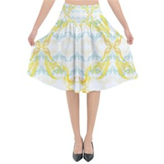 Crane White Yellow Bird Eye Animals Face Mask Flared Midi Skirt