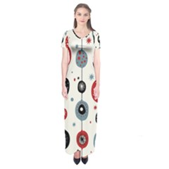 Retro Ornament Pattern Short Sleeve Maxi Dress