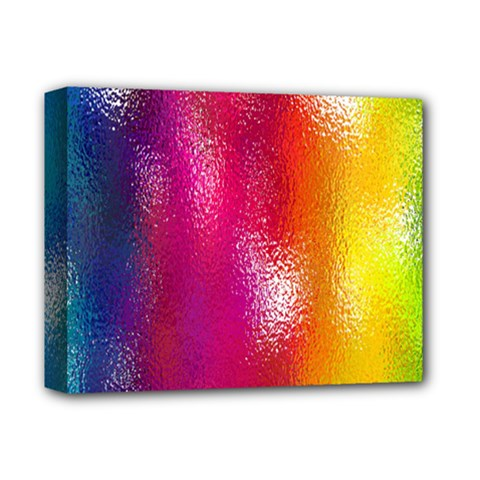 Color Glass Rainbow Green Yellow Gold Pink Purple Red Blue Deluxe Canvas 14  X 11  by Mariart