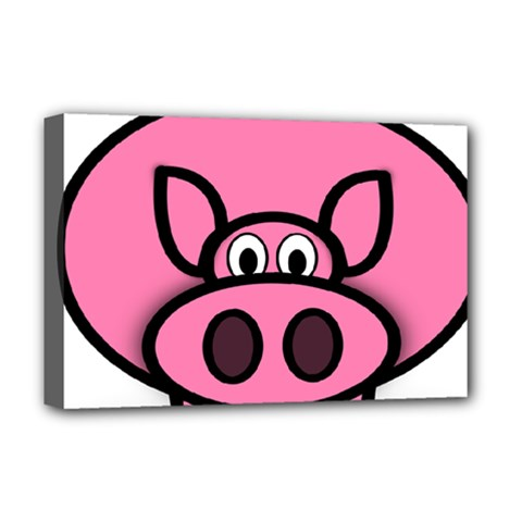Pork Pig Pink Animals Deluxe Canvas 18  X 12   by Mariart