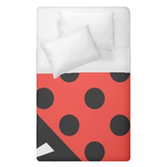 Red Black Hole White Line Wave Chevron Polka Circle Duvet Cover (single Size) by Mariart
