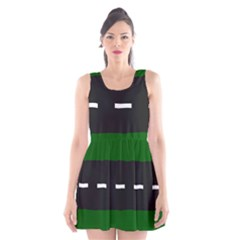 Road Street Green Black White Line Scoop Neck Skater Dress by Mariart