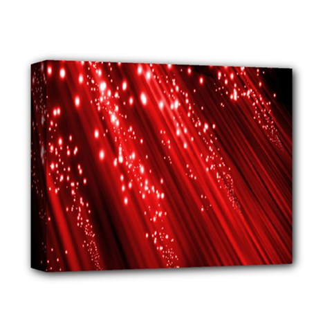 Red Space Line Light Black Polka Deluxe Canvas 14  X 11  by Mariart