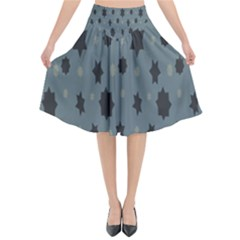 Star Space Black Grey Blue Sky Flared Midi Skirt