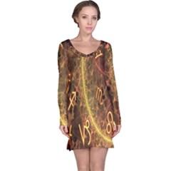 Romance Zodiac Star Space Long Sleeve Nightdress by Mariart