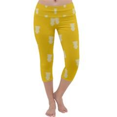 Waveform Disco Wahlin Retina White Yellow Vertical Capri Yoga Leggings by Mariart
