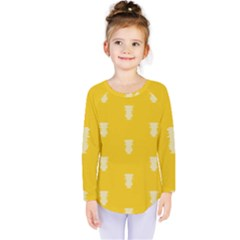 Waveform Disco Wahlin Retina White Yellow Vertical Kids  Long Sleeve Tee by Mariart