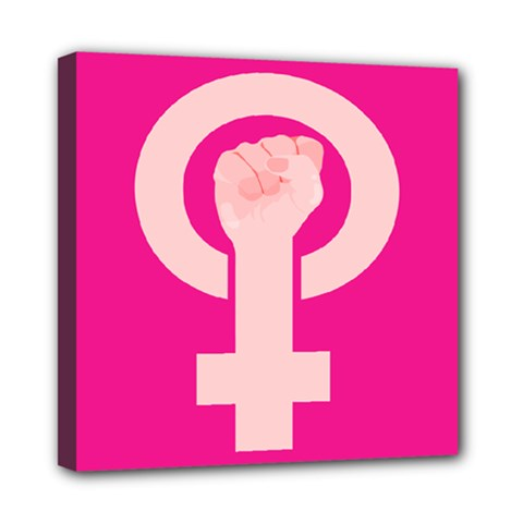Women Safety Feminist Nail Strong Pink Circle Polka Mini Canvas 8  X 8  by Mariart
