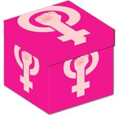 Women Safety Feminist Nail Strong Pink Circle Polka Storage Stool 12   by Mariart